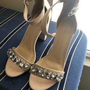 Wild Diva Jeweled Tan Heels